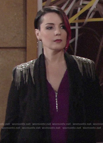 Sinead's fringed shoulder blazer on The Young and the Restless