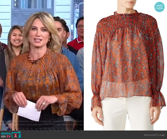 Sheer Smocked Blouse by Slate & Willow worn by Amy Robach (Amy Robach) on Good Morning America