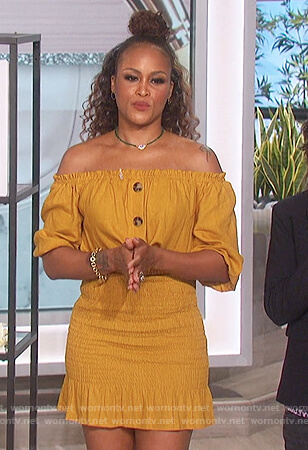 Eve's yellow smocked mini dress on The Talk