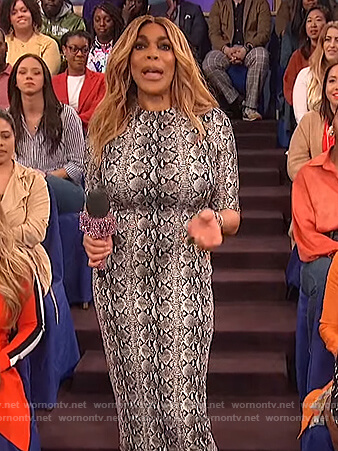 Wendy's snake print midi dress on The Wendy Williams Show