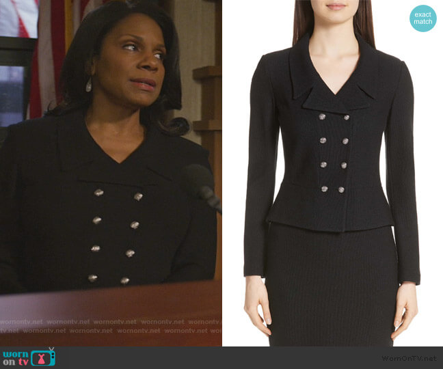 Gail Knit Double Breasted Jacket by St. John Collection worn by Liz Reddick-Lawrence (Audra McDonald) on The Good Fight