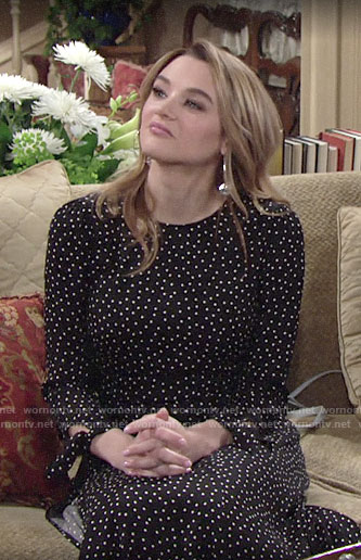 Summer's black polka dot dress on The Young and the Restless