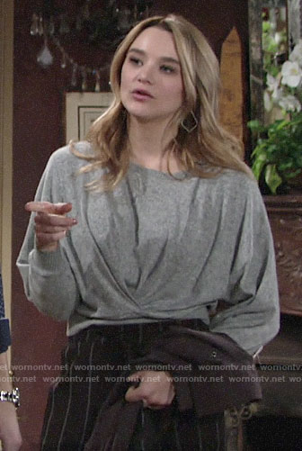 Summer's grey twist front sweater and striped pants on The Young and the Restless