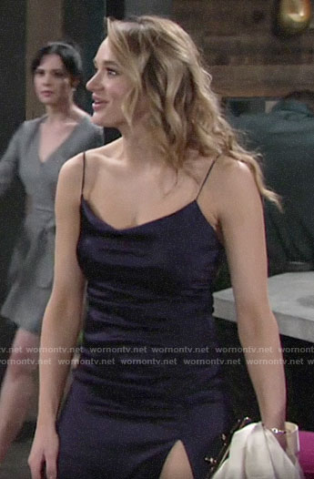 Summer's navy high slit dress on The Young and the Restless