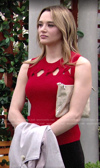 Summer's red twisted cutout top on The Young and the Restless