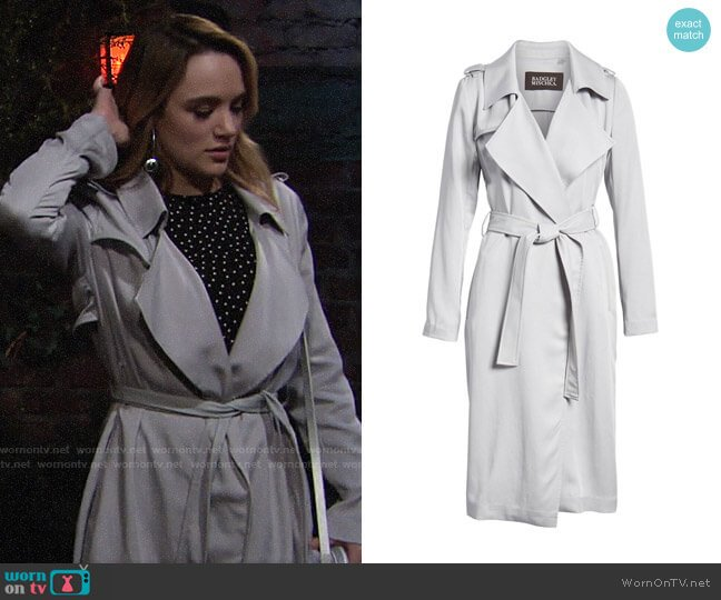 Badgley Mischka Faux Leather Trim Long Trench Coat worn by Summer Newman (Hunter King) on The Young & the Restless