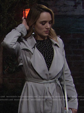 Summer's light grey trench coat on The Young and the Restless