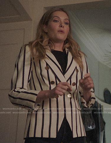 Sutton's striped blazer on The Bold Type