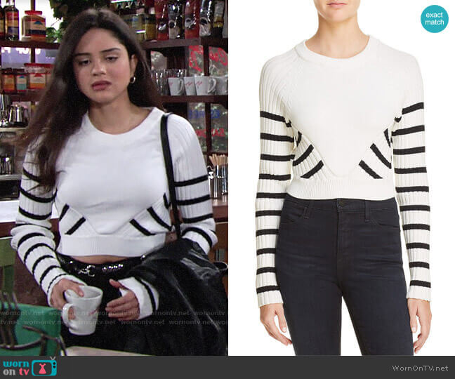 T by Alexander Wang Striped Crop Sweater worn by Lola Rosales (Sasha Calle) on The Young & the Restless