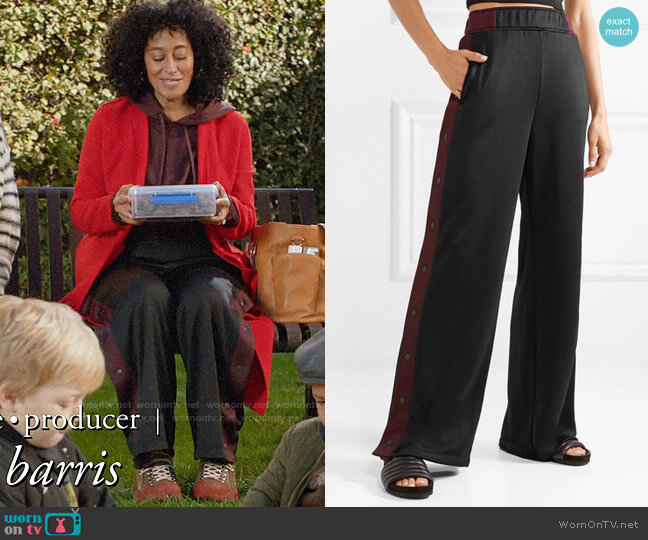 alexanderwang.t Striped coated-French terry wide-leg track pants worn by Rainbow Johnson (Tracee Ellis Ross) on Blackish