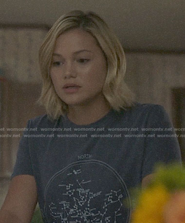 Tandy's blue constellation tee on Cloak and Dagger