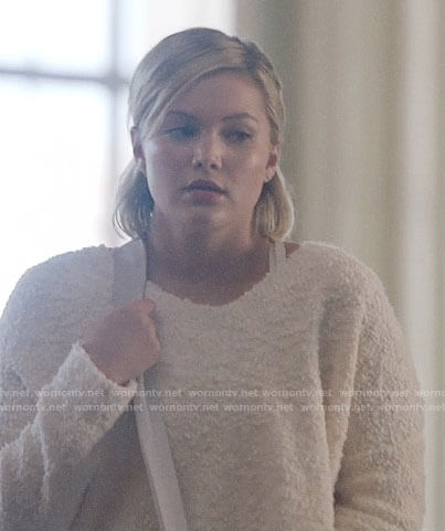 Tandy's white textured crop sweater on Cloak and Dagger