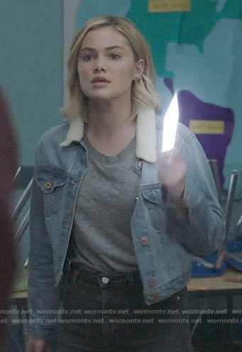 Tandy's cropped denim jacket with shearling collar on Cloak and Dagger