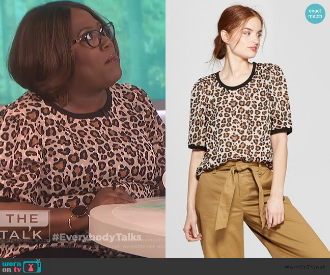 Leopard Print Woven Short Sleeve T-Shirt by A New Day at Target worn by Sheryl Underwood  on The Talk