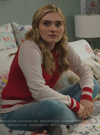 Taylor's red colorblock sweater on American Housewife