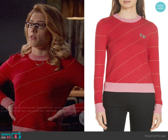 Ted Baker Color by Numbers Xavier Stripe Sweater worn by Felicity Smoak (Emily Bett Rickards) on Arrow