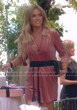 Teddi's pink velvet shirtdress on The Real Housewives of Beverly Hills