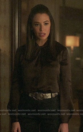 Tessa's brown knotted neck blouse on Charmed