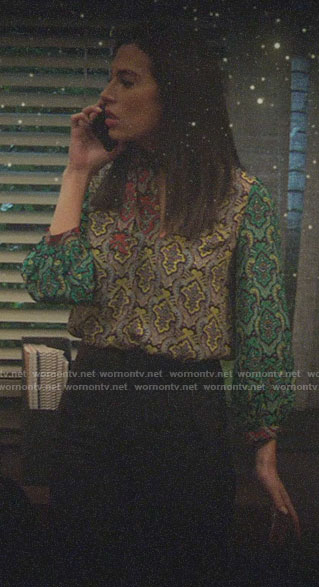 Tessa's mixed print tie-neck blouse on Charmed