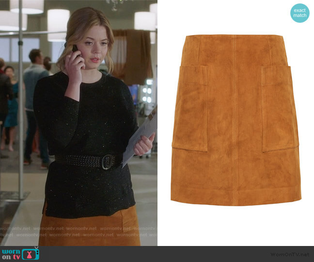 Stretch-Suede Mini Skirt by Banana Republic worn by Alison DiLaurentis (Sasha Pieterse) on PLL The Perfectionists