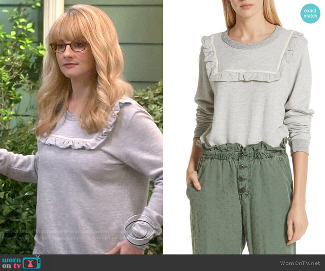 The Great The Shrunken Bib Sweatshirt worn by Bernadette Rostenkowski (Melissa Rauch) on The Big Bang Theory