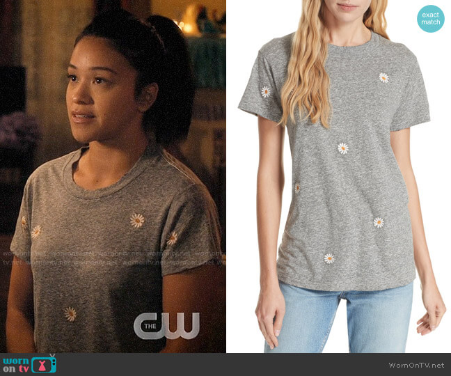 The Great The Embroidered Slim Tee worn by Jane Villanueva (Gina Rodriguez) on Jane the Virgin
