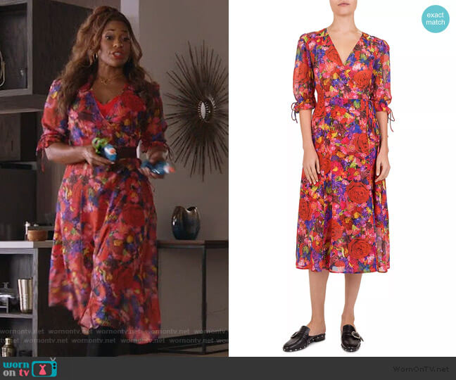 Summer Night Floral-Print Silk Wrap Dress by The Kooples worn by Poppy (Kimrie Lewis) on Single Parents