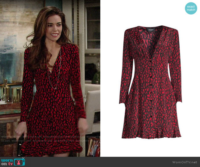 The Kooples Animal Print A-Line Dress worn by Victoria Newman (Amelia Heinle) on The Young & the Restless