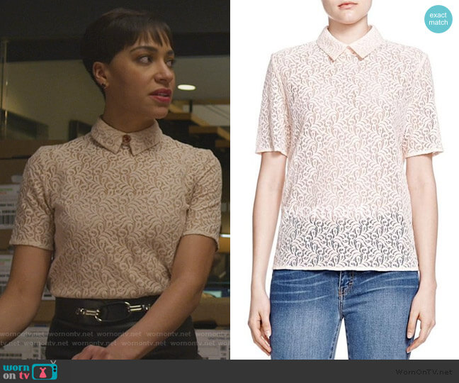 Short Sleeve Lace Top by The Kooples worn by Lucca Quinn (Cush Jumbo) on The Good Fight