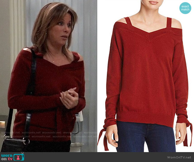 Theory Cashmere Off-The-Shoulder Pullover Sweater worn by Alexis Davis (Nancy Lee Grahn) on General Hospital