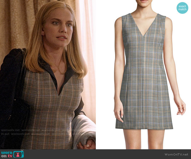 Theory Easy V-Neck Plaid Shift Dress worn by Amy Brookheimer (Anna Chlumsky) on Veep