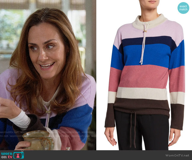 Theory Cashmere Striped Mock Neck Pullover worn by Maya (Diane Farr) on Splitting Up Together
