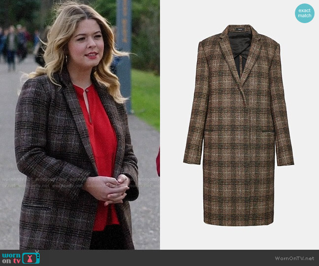 Theory Wool Plaid Essential Coat worn by Alison DiLaurentis (Sasha Pieterse) on PLL The Perfectionists