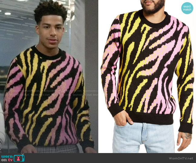 Topman Tiger Stripe Classic Fit Sweater worn by Andre Johnson Jr (Marcus Scribner) on Blackish