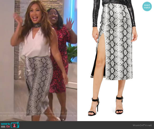 Snake Print Faux Leather Midi Skirt by Topshop worn by Carrie Inaba (Carrie Inaba) on The Talk