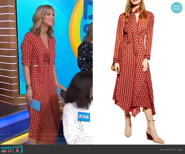 Horse Coin Midi Dress by Topshop worn by Lara Spencer (Lara Spencer) on Good Morning America