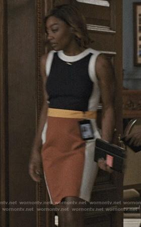 Daisy's colorblock dress on Madam Secretary