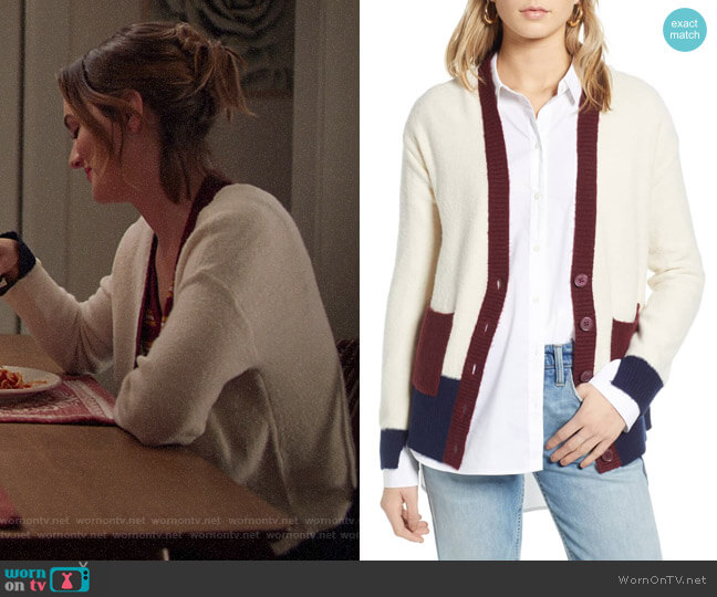 Colorblock V-Neck Cardigan by Treasure & Bond worn by Angie (Leighton Meester) on Single Parents