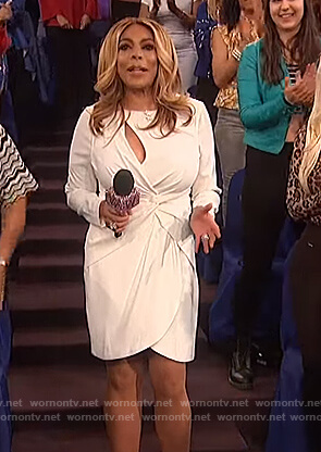 Wendy's white twisted dress on The Wendy Williams Show