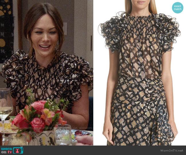Ulla Johnson Melina Silk Blend Blouse worn by Camille (Lindsay Price) on Splitting Up Together