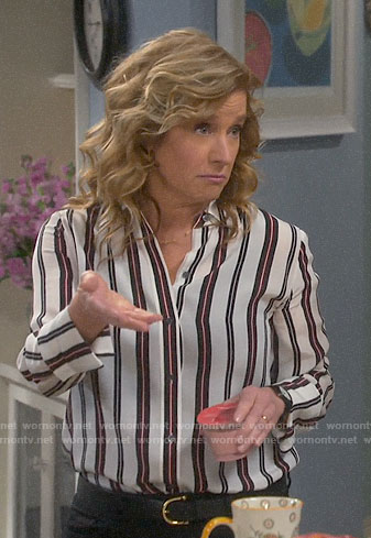 Vanessa's striped button down blouse on Last Man Standing