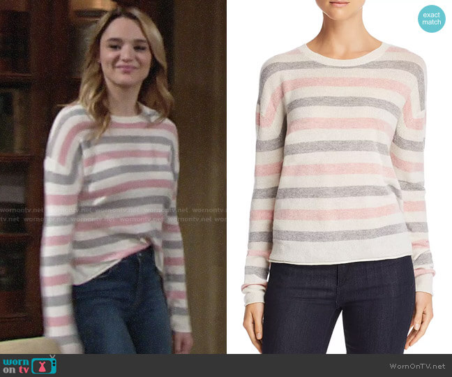 Velvet by Graham & Spencer Striped Crewneck Sweater worn by Summer Newman (Hunter King) on The Young & the Restless