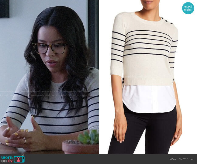 Veronica Beard Knot Mariner Combo Silk & Cashmere Sweater worn by Mariana Foster (Cierra Ramirez) on Good Trouble