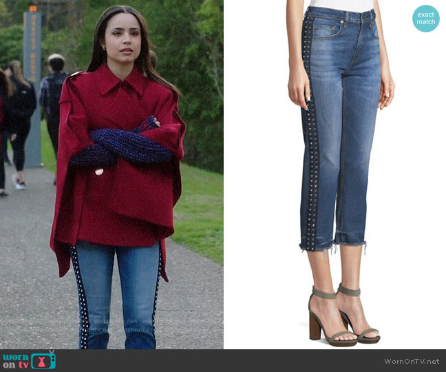 Veronica Beard Ines Jeans worn by Ava Jalali (Sofia Carson) on PLL The Perfectionists