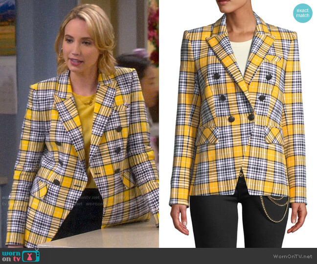 Veronica Beard Miller Jacket in Yellow Plaid worn by Mandy Baxter (Molly McCook) on Last Man Standing