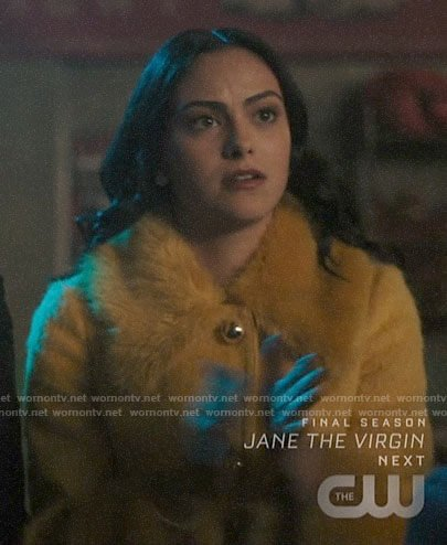 Veronica's yellow fur collar coat on Riverdale