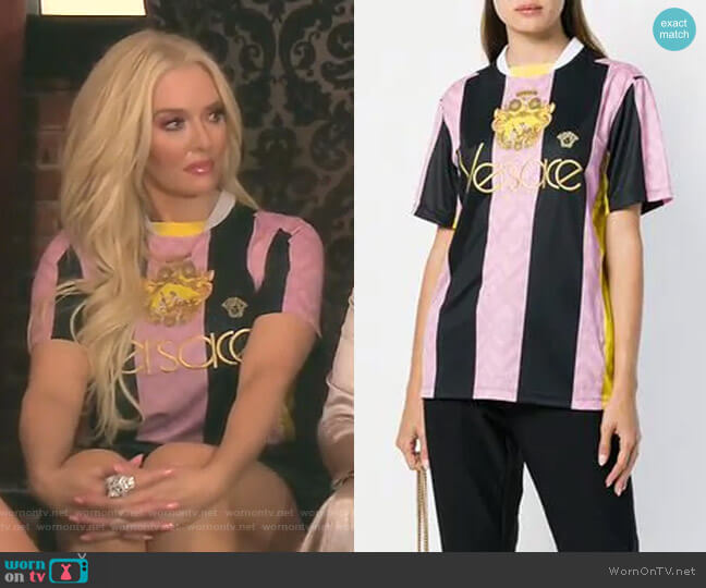 Embroidered Logo Football T-shirt by Versace worn by Erika Girardi  on The Real Housewives of Beverly Hills