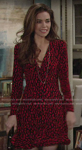 Victoria's red leopard print dress on The Young and the Restless