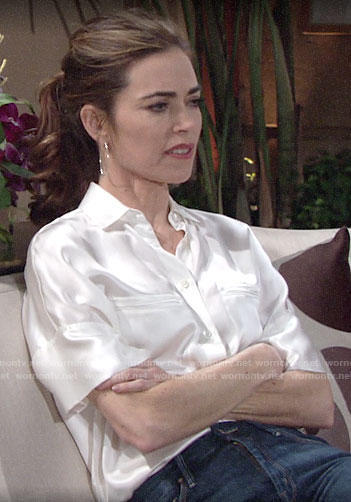 Victoria's white silky button down top on The Young and the Restless