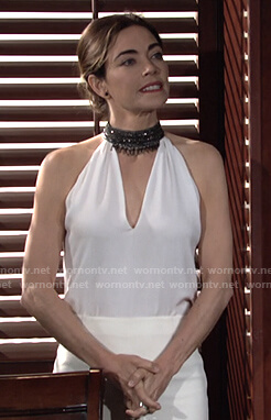 Victoria's white beaded choker neck top on The Young and the Restless